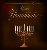 Happy Hanukkah card template with lights on holder