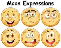 Six Different Moon Facial Expression
