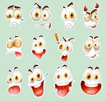 Sticker set with facial expressions on blue