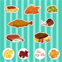 Sticker set with different types of food