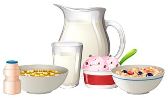 Breakfast set on white background