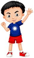 Menino taiwanês na camisa azul