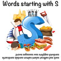 Worksheet design for words starting with S