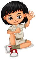 An Asian Girl in Safari Suit