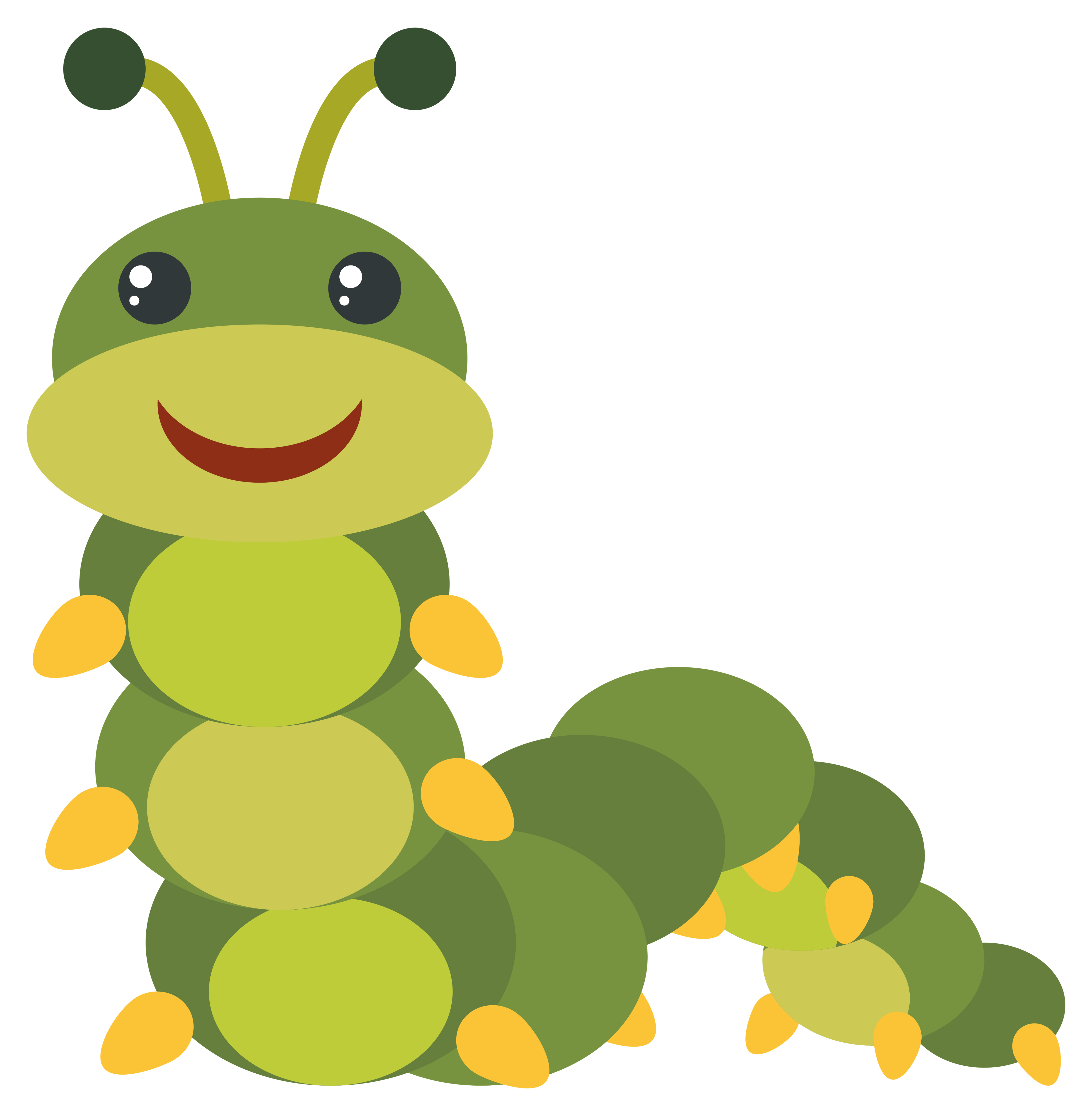Green Caterpillar With Happy Face Download Free Vectors Clipart