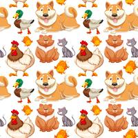 Seamless background with many cute pets