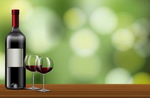Red wine on nature template