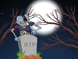 zombie in graveyard at night vector