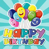 Happy Birthday card template with colorful balloons
