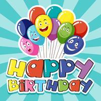 Plantilla de tarjeta de feliz cumpleaños con globos de colores