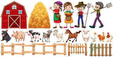 Farmers and farm animals vector