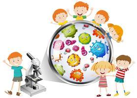 Niños mirando bacterias del microscopio.