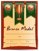 Disegno del certificato per la medaglia di bronzo