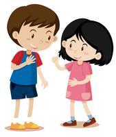 Junge und Mädchen reden