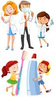 Dentists and children with toothbrush