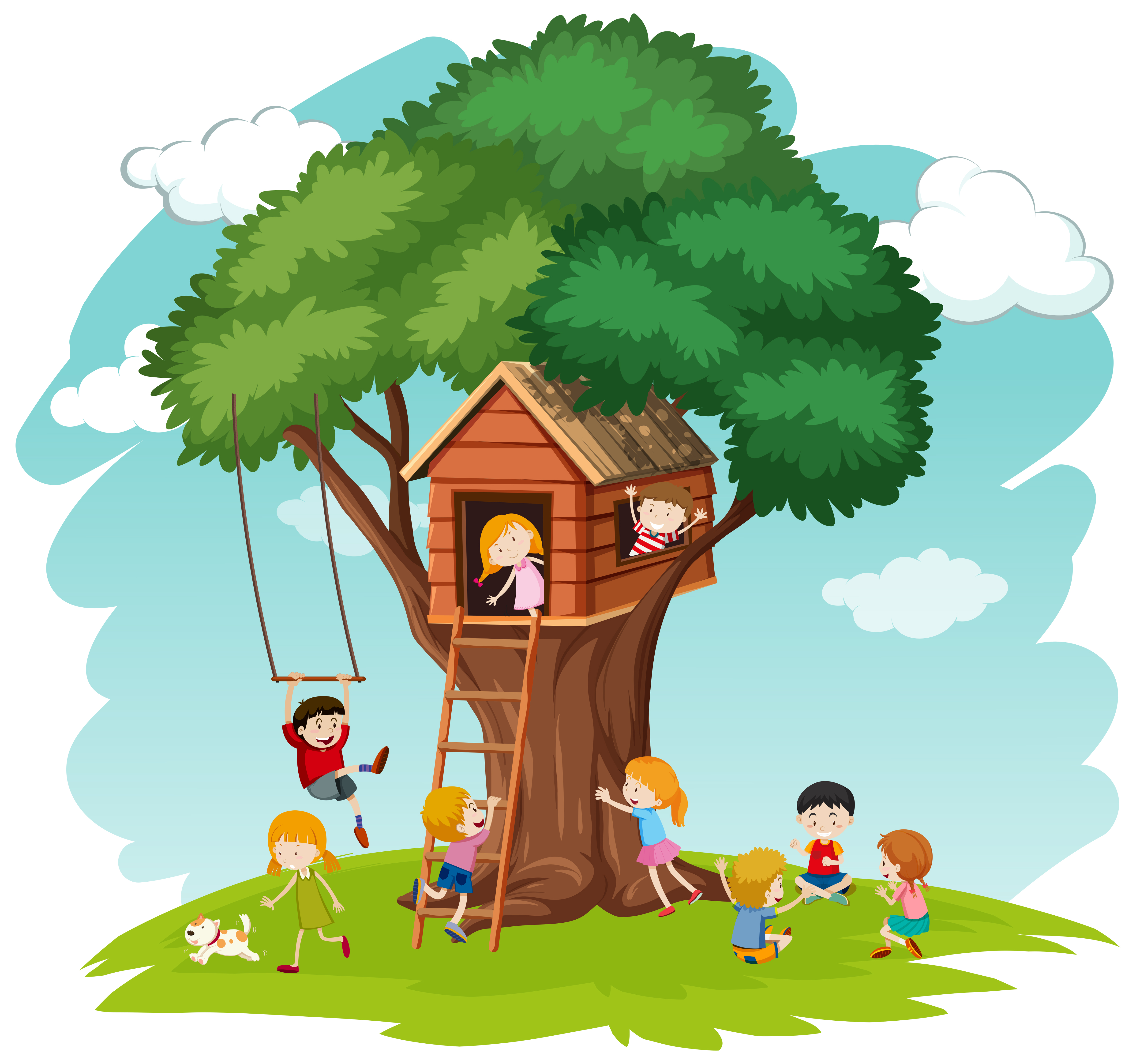 Picture of: Children At Tree House Download Free Vectors Clipart Graphics Vector Art