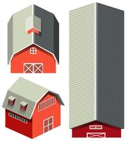 Red barn in different angles