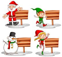 Christmas theme with wooden signs and characters