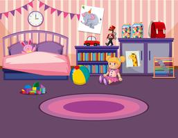 Young girls bedroom interior
