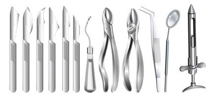 Surgery equipment on white vector