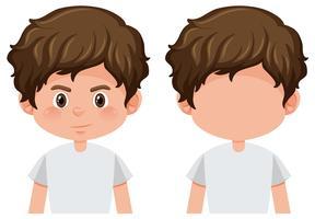 Ensemble de personnage de garçon brune