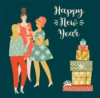 Christmas and Happy New Year illustration young women drinking champagne.