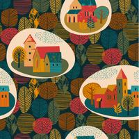 Vector seamless pattern of city in the rain. Autumn mood.