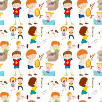 Seamless background design with kids playing vector