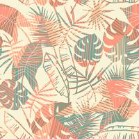 Seamless exotic pattern with tropical plants and geometric background.