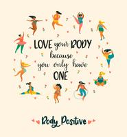Body positive. Happy plus size girls and active healthy lifestyle. vector