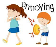 Young boy annoying girl vector