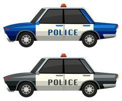 Coches de policía en dos colores diferentes.