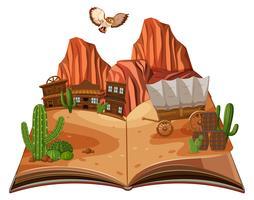 A pop up book desert scene
