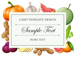 Card template with vegetables and fruits