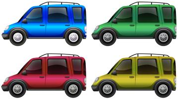 Cars in four different colors