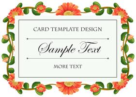 Card template with calendula flowers frame