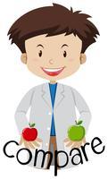 En forskare jämför mellan två äpplen