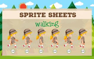 Sprite Sheets fille marchant