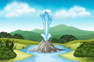 Escena de la naturaleza con aguas termales y campo.