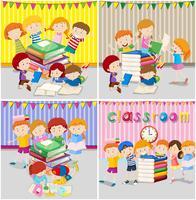 Um conjunto de crianças estuda