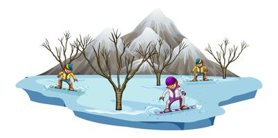 Three men snowboarding in snow field vector