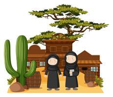 Two muslim girls in western town