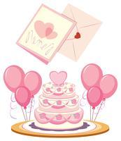 Gâteau de mariage et cartes
