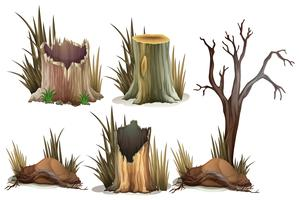 Different type of tree stump vector