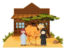 Two arab people and camel at home