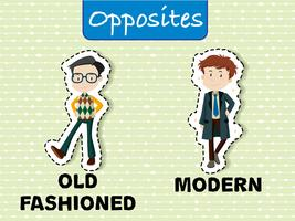 Opposite words for old fashioned and modern