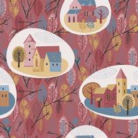 Vector seamless pattern of city in the rain. Autumn mood