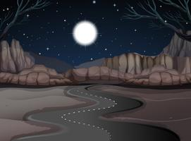 Road scene in the desert land at night