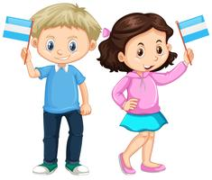Boy and girl holding Nicaragua flag