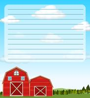 Paper template with red barns in field
